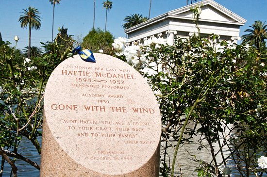 Hollywood Forever Cemetery: Memorial to Hattie McDaniel who was denied burial at the cemetery back in the because of her col