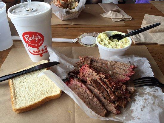Rudy's: 1/2 lb of brisket with potato salad