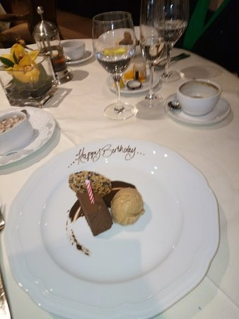 ‪‪Bacchus Restaurant & Lounge‬: The chocolate dessert with birthday greeting‬