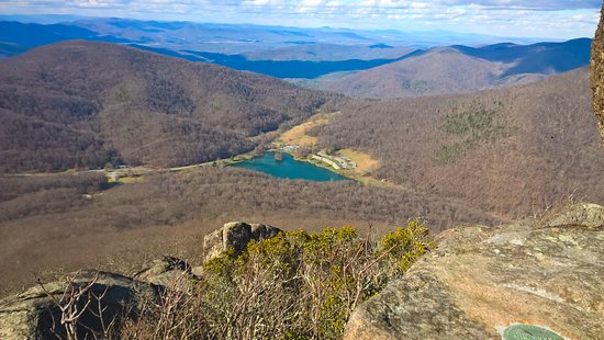 Bedford, VA: View of the lodge and lake from the peak of Sharp Top mountain.