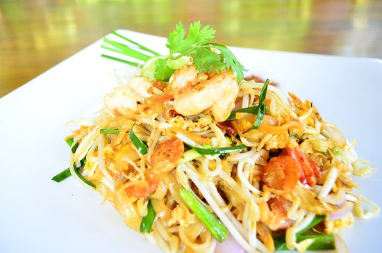 ผ ดไทย Phad Thai Wok Fried Noodle With Prawns Seafood Chicken