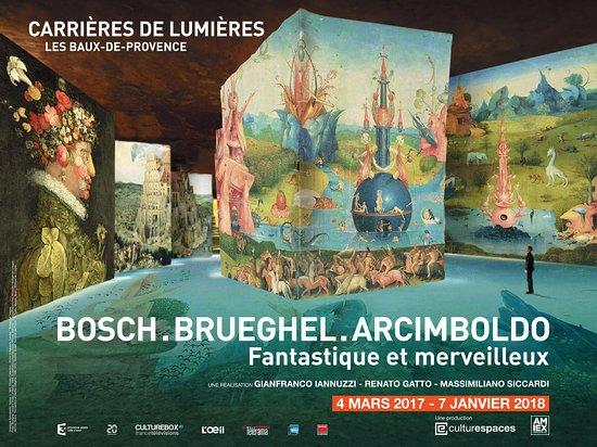 """Carrières de Lumières : Exposition immersive """"Bosch, Brueghel, Arcimboldo - Fantastique et merveilleux"""""""