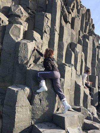 Reynisfjara Beach: Basalt columns along the Reynisfjara (Black-Sand Beach), Vik, Iceland