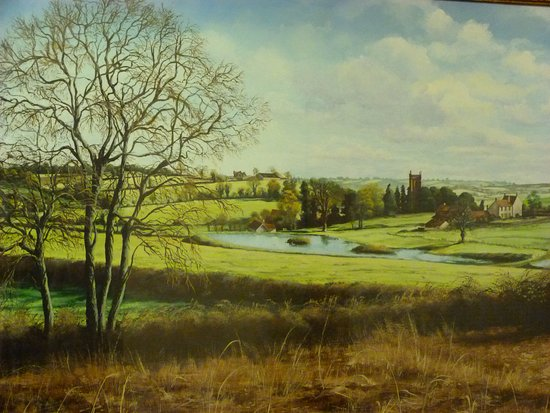 Temple Cloud, UK: Painting by David Fisher showing Cameley Lakes and Cameley Lodge (1979)