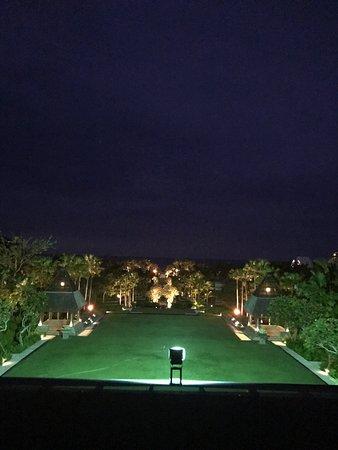 At night looking towards the beach