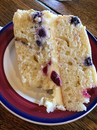 Landrum, SC: Lemon-berry mascarpone cake ... with one bite missing.
