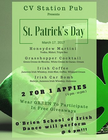 CV Station Pub : Our St. Patrick's Day Special!!!