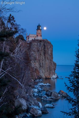 Two Harbors, MN: Full Moon rising at Split Rock