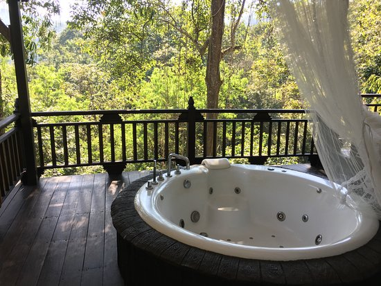 Hot tub on the balcony picture of panviman chiang mai for Balcony hot tub