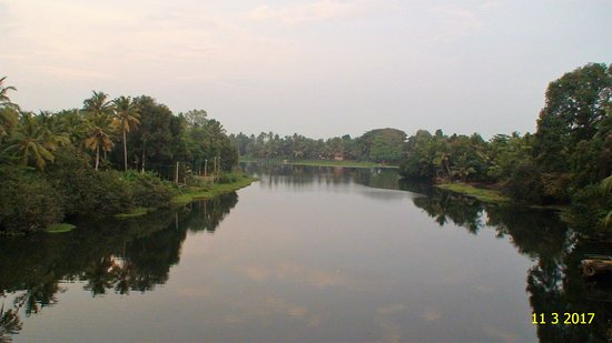 Kuttanad, อินเดีย: Tributary of Achankovil merges with Pamba - View from Veeyapuram bridge