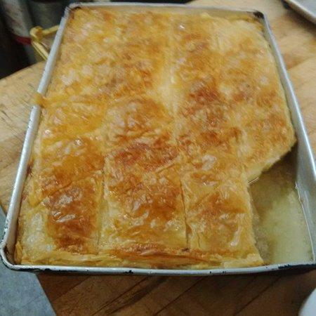 Three Kretans: Galactobouriko - Greek honey custard topped with filo pastry