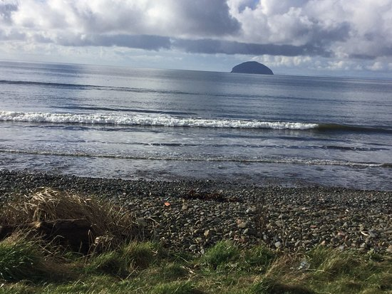 looking out to ailsa craig from the carpark at girvan golf course