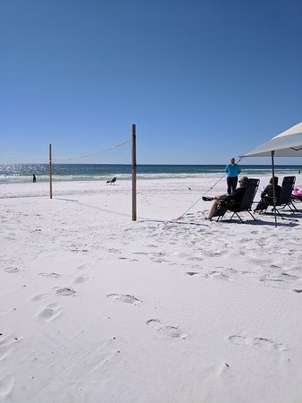 Beautiful white sand beach and turquoise water at Camp Gulf