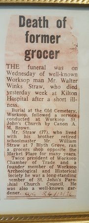 Mr Straw's House: Newspaper clipping as seen upstairs.
