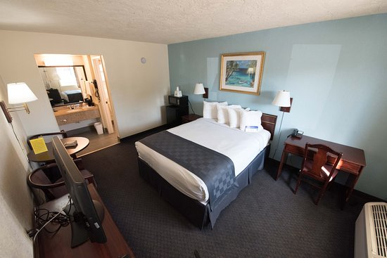 Americas Best Value Inn-Bradenton/Sarasota : Decent room layout with a desk, small table, TV, microwave and fridge