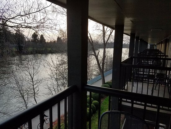 The Valley River Inn: The view of the Willamette River off the Balcony.