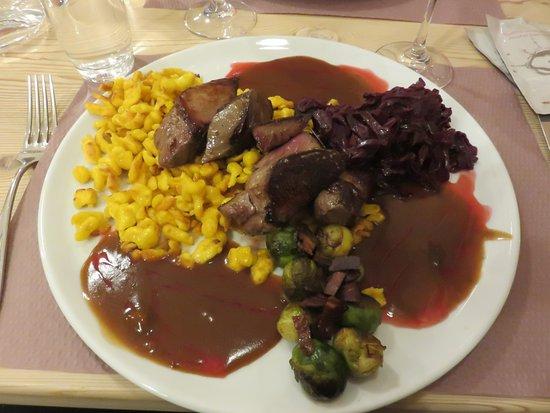 Restaurant de l'Auberge de l'Hospice: game meat - venison - with spaetzli