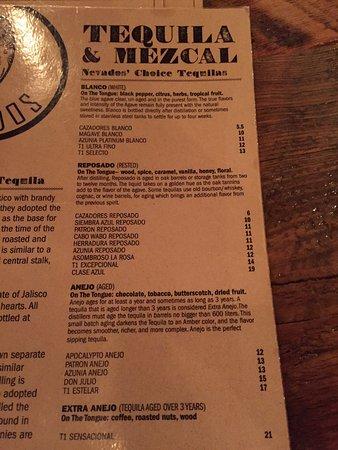 Fernie, Canada: Tequila list