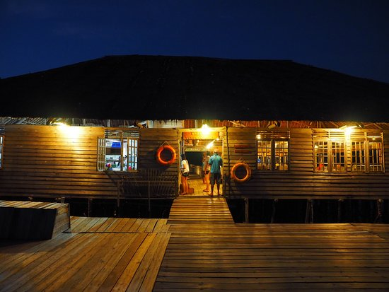 Telunas Resorts - Telunas Beach Resort: View of the dinning area from the front deck at night.