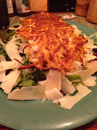 Food Shack: Sweet Potato Encrusted Salmon on a bed of greens with Fresh Parmesan Cheese!