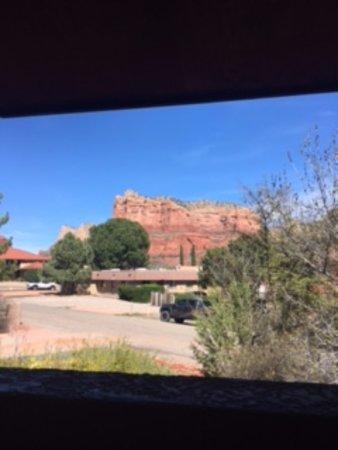 Adobe Village Inn: view out balcony patio