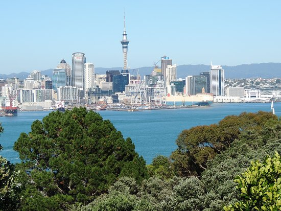 Devonport, New Zealand: Sky Tower from Mt Victoria