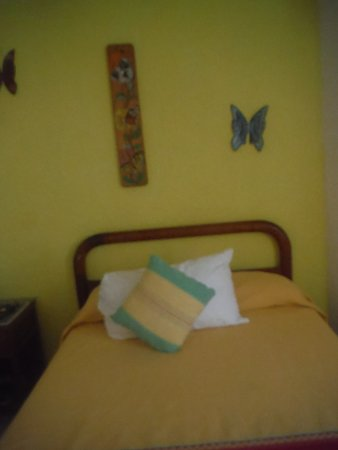 La Cabaña de Puerto Angel: One of the beds of my room , there were 3 and a small fridge.