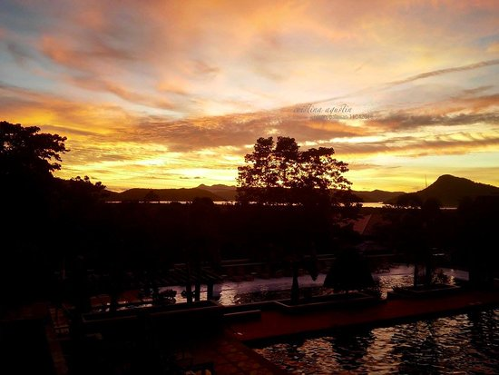 Coron Westown Resort: Around 530 pm view from a premium deluxe room veranda (swimming pool side).