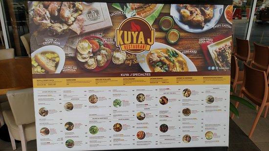 kuya j restaurant kuya s menu poster