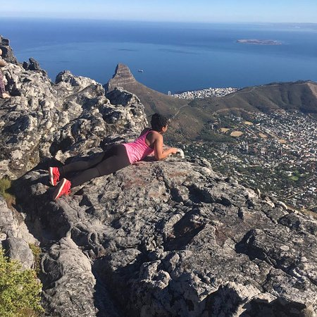 Hike Table Mountain: At the top looking down at Cape Town