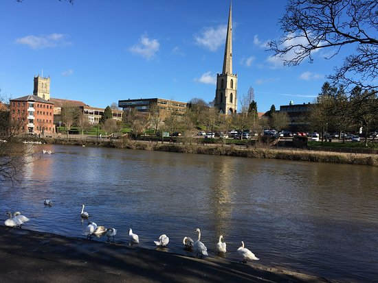 Worcester, UK: Overview from another side of Severn River which is right behind the college
