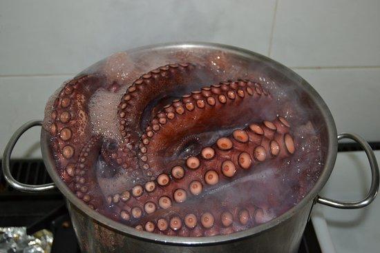 Lucena, España: coción del pulpo lavilladebaco