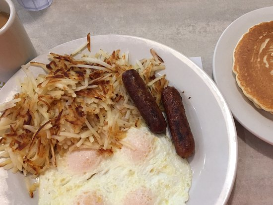 Portage, IN: Eggs, sausage links hash browns, and pancakes