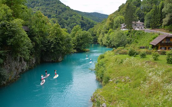 Most na Soci, Словения: Paddle boarding Soca river