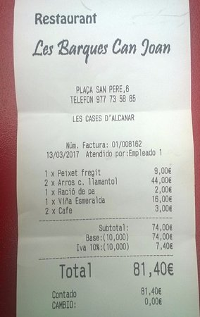 Les Cases d'Alcanar, สเปน: La cuenta para dos personas
