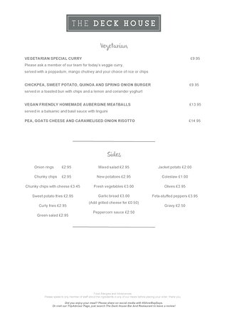 Isla de Anglesey, UK: The Deck House Restaurant, Bar and Bistro - Spring 2017 Menu - Vegetarian Menu and Sides