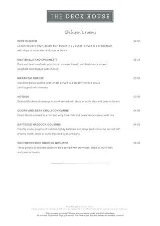 Isla de Anglesey, UK: The Deck House Restaurant, Bar and Bistro - Spring 2017 Menu - Children's Menu