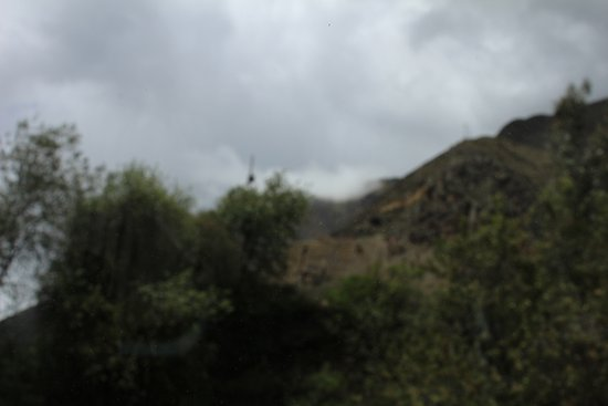 Inca Rail: View from train on a foggy day