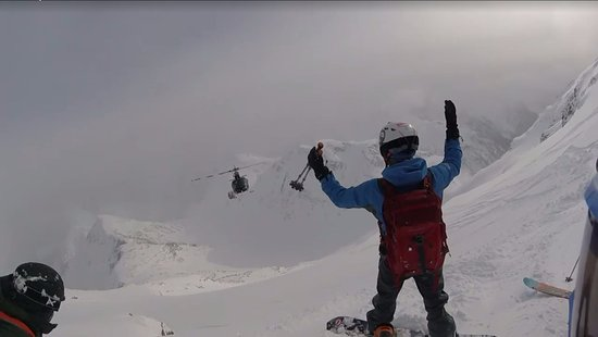 Eagle Pass Heliskiing: flyby after dropping us on top of a pow covered ridge