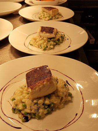 Thornton-le-Clay, UK: Hallibut, prawn and pea Risotto
