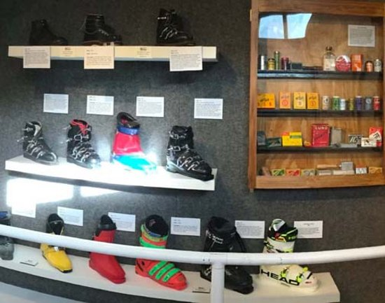Colorado Ski Museum-Ski Hall of Fame : A collection of ski boots over the years