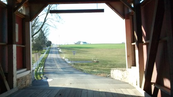 Looking toward Lititz from inside Erbs Covered Bridge