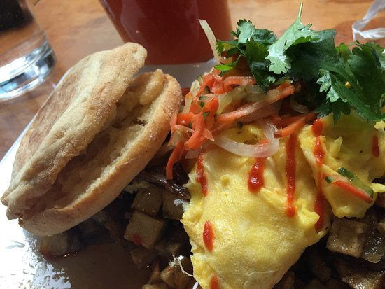 Dime Store: Duck hash with eggs and English muffin
