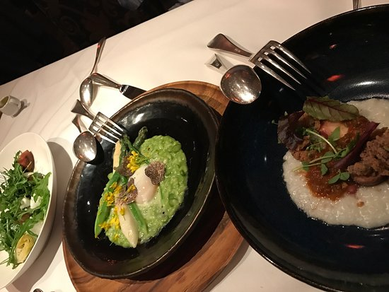 Boulevard: Risotto with black truffle shavings, grilled octopus and squid warm salad. Lamb chop, pork chop,