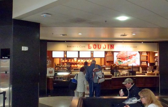 San Bruno, CA: the counter & dining area for Boudin Bakery & Cafe