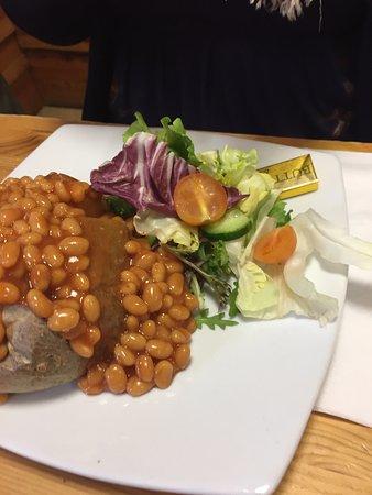 Guiting Power, UK: Jacket Potato, Beans and Salad
