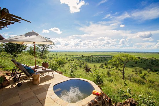 Ngoma Safari Lodge: view of pool and chobe floodplain from bedroom