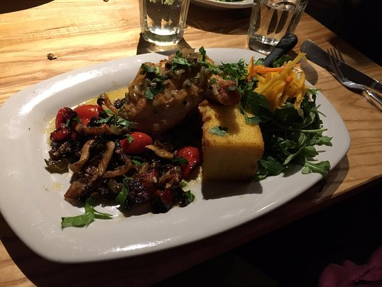 Greenfield, MA: Chicken Piccata w/ polenta & vegetables (also quite delicious!)
