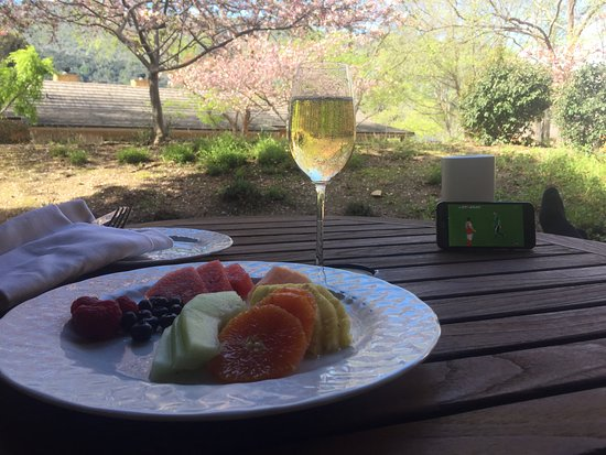 Carmel Valley, CA: Morning breakfast on the terrace with a side of English premier league
