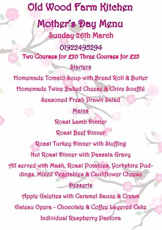 Essington, UK: Mothers day set menu